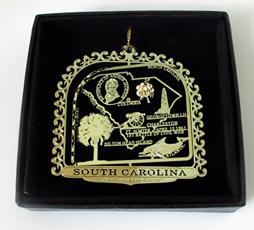 South Carolina State Brass Ornament Black Leatherette Gift Box