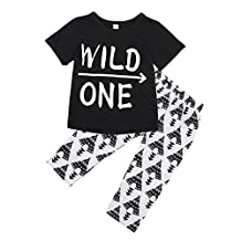 Infant Baby Girl Boy Wild One Short Sleeve T-shirt Tops and Long Pants Outfit Set