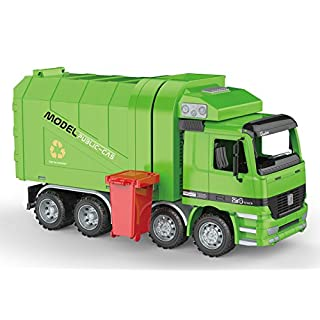 PowerTRC Friction Powered Garbage Truck | Includes Garbage Cans | Side Loading and Back Dumping