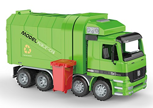 PowerTRC Friction Powered Garbage Truck | Includes Garbage Cans | Side Loading and Back ()