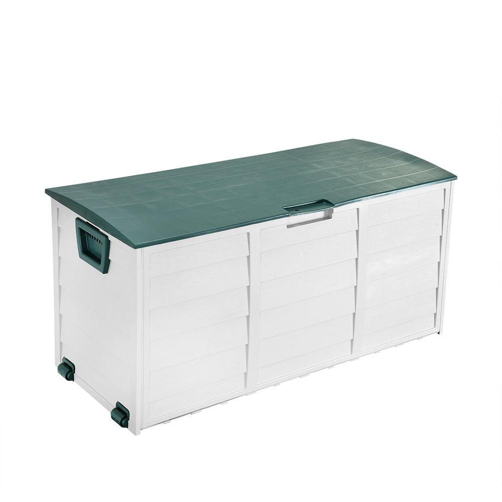 PanaCasa - (112 * 49 * 52cm Baú l Plá stico Multiuso Caja de Almacenamiento Plegable Capacidad 250L (Blanco+Verde)