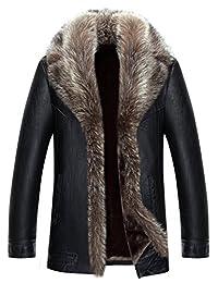 Jinmen Mens Sheepskin Leather Jacket Winter Fur Coat Warm Raccoon Parka Outwear
