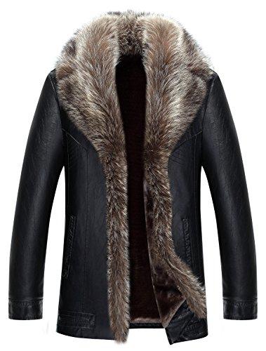 (Jinmen Mens Sheepskin Leather Winter Jacket Fur Coat Warm Raccoon Parka Outwear (Large, U516-Black))