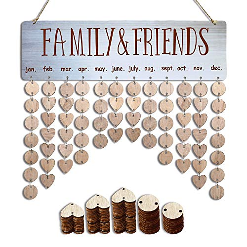 YuQi Gifts for Grandma Moms- Wooden Family Birthday Tracker Organizer Board Wall Hanging,DIY Perpetual Calendar Plaque to Remember Important Days with Tags for Wall Decor-Personalized Birthday Present