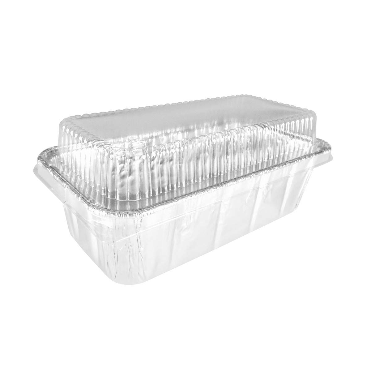 Disposable Aluminum 2 Lb. Loaf Pan with Clear Plastic Snap on Lid #5100P (25)
