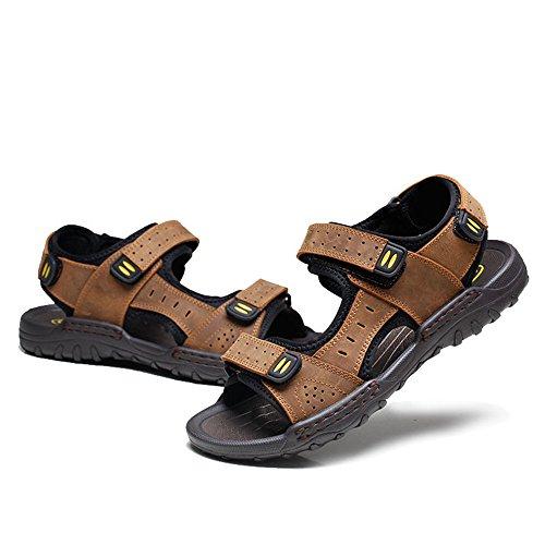 EU pelle in da Sandali Brown Color Sandali assorbenti in Size Brown chiusi da traspiranti antiscivolo Qingqing uomo sandali pelle sandali 42 sudore uomo q4Cn1