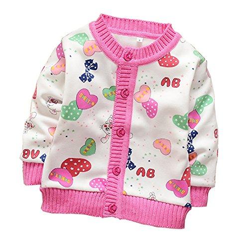 Zhuannian Baby Girls Cartoon Fleece Cardigan Button Sweaters (2-3t, White)