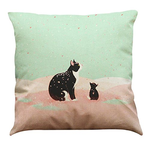 Festival Cushion Covers,FUNIC Cute Cat Throw Pillow Case Sofa Bed Home Cafe Decor (Multicolor (4 Tuxedo Chairs)