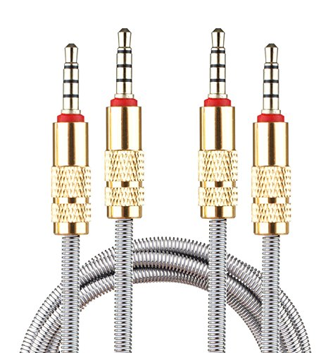 Set of 2 Lilware Metal Braided Audio 3.5mm Cables with Metal Plated Jack - 3.5mm to 3.5 mm 2.6 FT (80 CM) Audio AUX Cord - Silver (Machine Lightning)