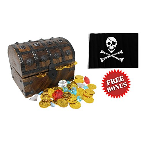 Nautical Cove Wooden Pirates Treasure Chest Box with a FREE Pirate Flag and Gold Coins/Gems (Large - Chest Wooden Pirate