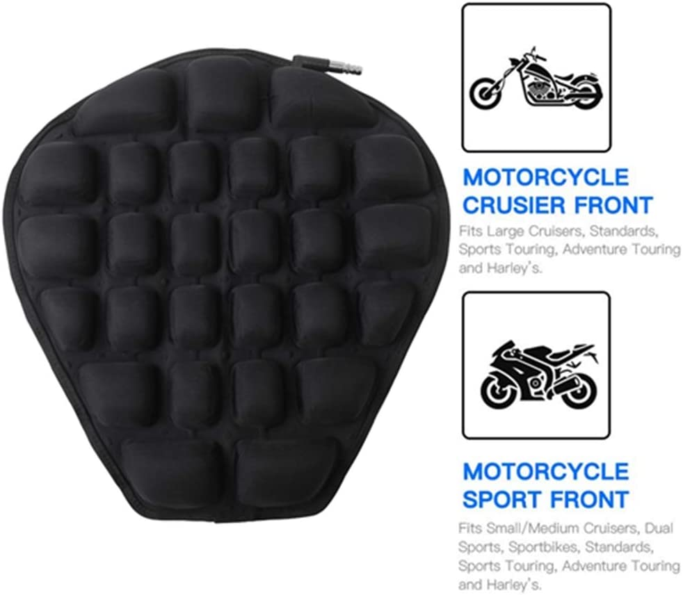 AUFER 12 x 12 Motorcycle Seat Air Cushion Pad for Comfortable Traveling Pressure Relief Durable Fabric For most Motorcycle