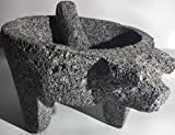 Made in Mexico Genuine Mexican Manual Guacamole Salsa Maker Volcanic Lava Rock Stone Molcajete/Tejolote Mortar and Pestle Herbs Spices Grains Front Pig Head 10''