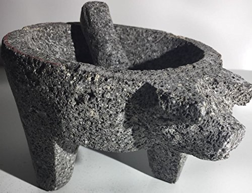 Made in Mexico Genuine Mexican Manual Guacamole Salsa Maker Volcanic Lava Rock Stone Molcajete/Tejolote Mortar and Pestle Herbs Spices Grains Front Pig Head -
