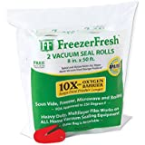 """2 Pack – Freezer Fresh 8"""" x 50' Commercial Grade Vacuum Sealer Rolls. Food Storage Rolls Compatible with FoodSaver, Sous Vide and more."""