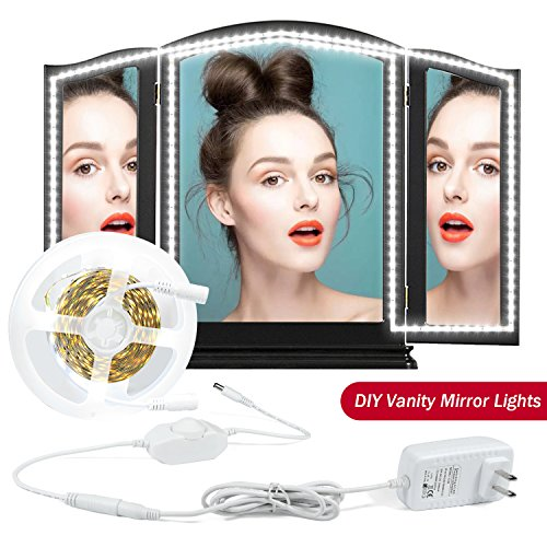 LED Vanity Mirror Lights Kit, MZTDYTL 13ft/4M LED Mirror Light Strip 240 LEDs Soft Daylight White Hollywood Style Mirror Light with Dimmer and Power Supply for Makeup Dressing Table,Mirror not include - bedroomdesign.us