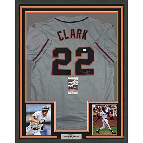 Framed Autographed/Signed Will Clark 33x42 San Francisco Grey Baseball Jersey JSA COA
