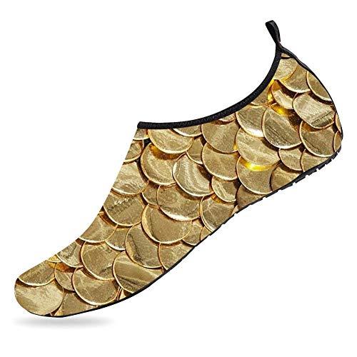 EOCN Water Sports Shoes Barefoot Quick-Dry Aqua Socks Slip-on for Men Women Golden Mermaid Fish Scale 3D Printed Water Shoes 6.5-7.5 US Women / 5.5-6.5 M US Men -