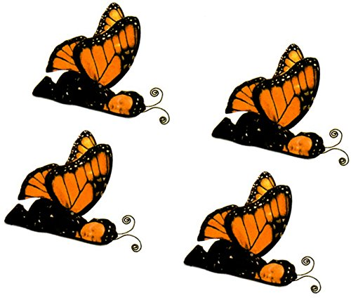 "50s Teacher Costume (Custom & Decorative { 1"" Inch} 4 Count of Small Stickers for Arts, Crafts & Scrapbooking w/ Cartoon Costume Baby Monarch Butterfly Halloween Cute {Yellow, Orange, White, & Black})"