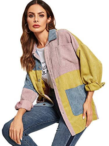 Verdusa Women's Single Breasted Pocket Front Color Block Corduroy Jacket Multicolored-1 L