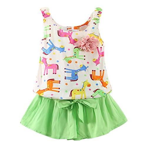 Girls Summer Clothes Rainbow Horse Tank Top and Shorts Set Mint Green 12-18 Months