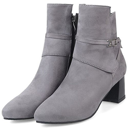 Med Gray Boots Ankle COOLCEPT Block Ladies Heels Zipper Casual Booties t0ff8wzrq