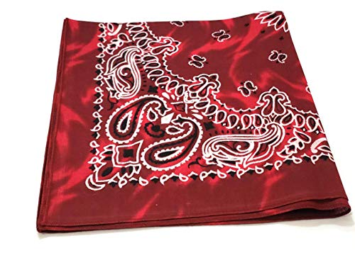 1 Dozen Paisley Bandanas 100% Cotton Double Sided Scarf (Many Colors) by M.H.I. (Marble Red)