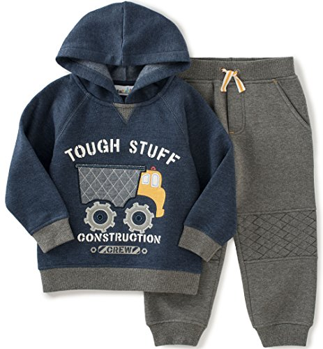 Kids Headquarters Baby Fleece Hoody with Jogger Pants Set, Navy, 18 Months