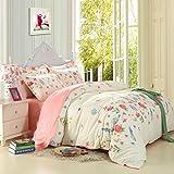 SAYM Home Bedding Sets Elegant Rural Style Print Twin Size Set For Lovely Teen Girls 100% Polyester Fiber Duvet Cover, Flat Sheet, Shams Set 4Pieces