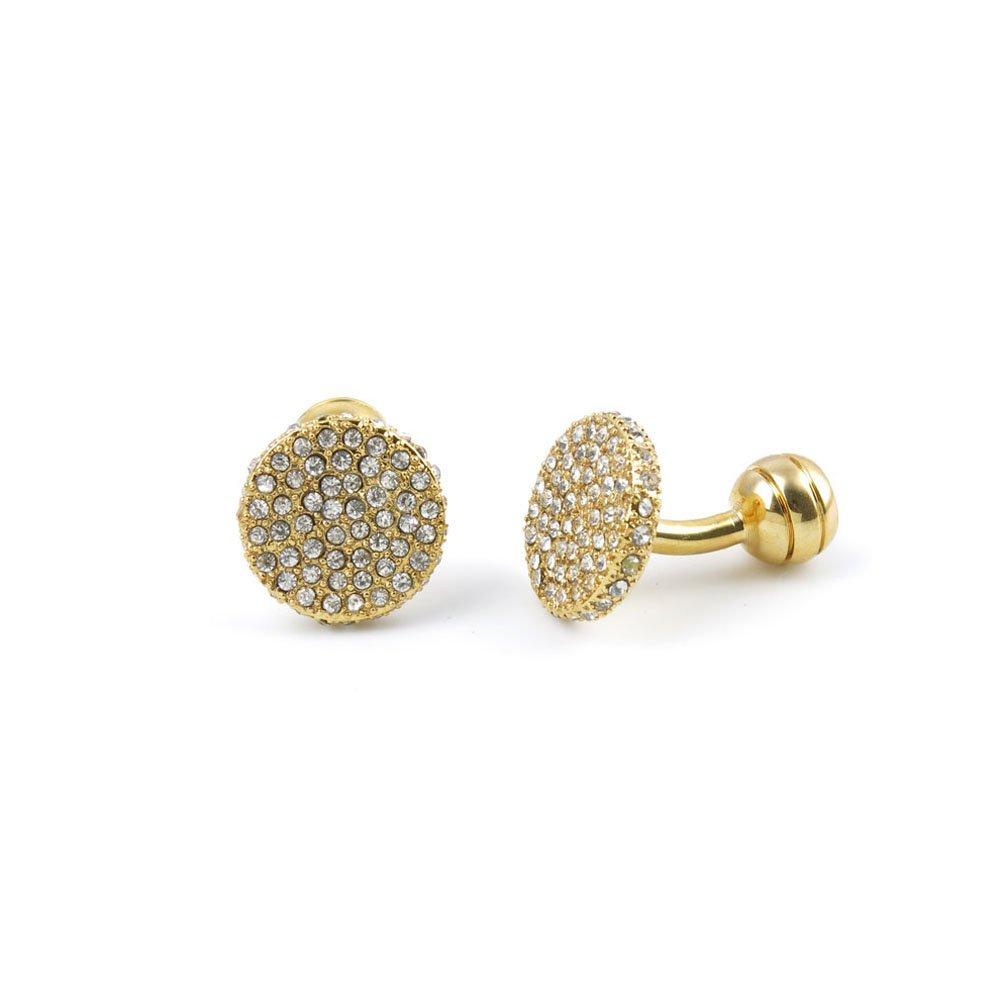 10 Pairs Men Boy Jewelry Cufflinks Cuff Links Party Favors Gift Wedding GU079 Zircon Golden Round