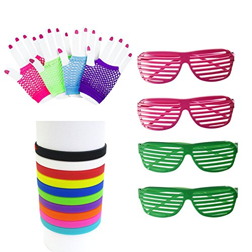 80s Facny Outfit Costume Accessories,Neon Fingerless Fishnet Gloves,Neon Silicone Bracelets,Shades Sunglasses