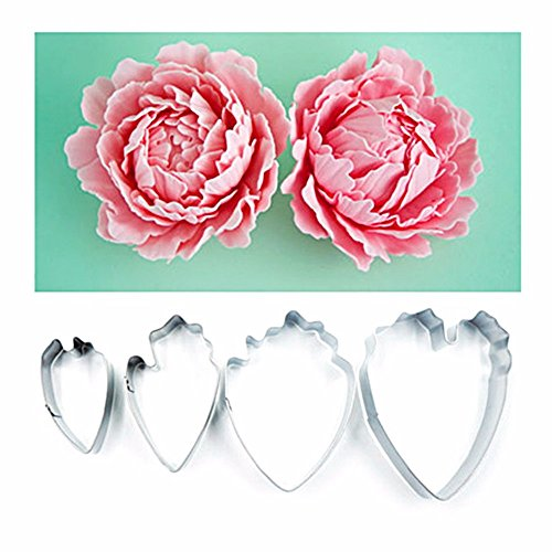 4pcs Heart Peony Flower Fondant Sugarcraft Cake Biscuit Cutter Decorating Mold Mould Tool (Halloween Cut Out Sugar Cookie Recipe)