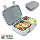 : Bentgo Fresh (Gray) – Leak-Proof & Versatile 4-Compartment Bento-Style Lunch Box – Ideal for Portion-Control and Balanced Eating On-the-Go – BPA-Free and Food-Safe Materials
