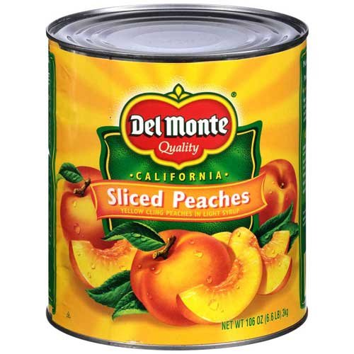 Del Monte Sliced Peaches in Light Syrup, 106 Ounce Can - 6 per case.