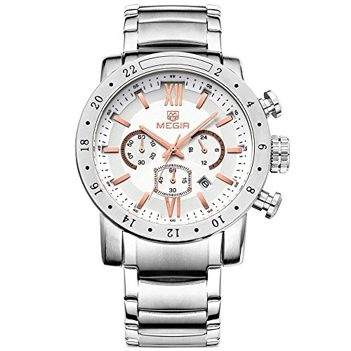 Megir Mens Chronograph 24 Hr Round dial Calendar Quartz Wrist Watches with Luminous Hands - Watch 24 Hr Wrist