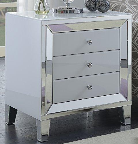 Best Quality Furniture AC46 Three Door Cabinet Silver Mirror White 3 Drawer