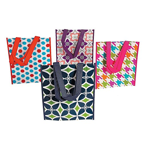 (4 ~ Trendy Pattern Laminated Totes / Totebags ~ Approx. 10