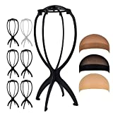 Wig Stand 6pcs Wig Caps 3pcs Portable Durable Plastic Folding Wig Holder Hairpieces Display Tool Stable Wig Stand Dryer (Black)