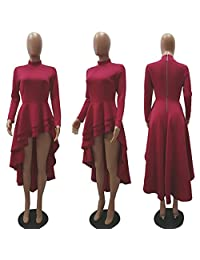 Ehcojdeb - Blusa de manga corta para mujer, con volantes, alta y baja, asimétrica