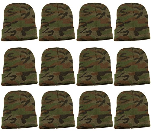 Yacht & Smith Mens Womens Warm Winter Hats in Assorted Colors, Mens Womens Unisex (12 Pack Green Camo)
