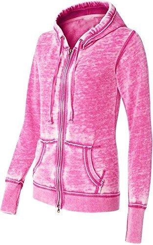 - Yoga Jacket - Women Athletic Zip up Jacket - Burnout Light Weight Soft Fleece - Hooded Sweatshirt. (Medium, Pink)