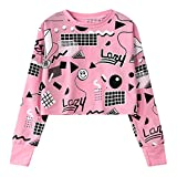 Fashiononly Women Sweatshirt Harajuku Pink Crop Top Geometry Print Long Sleeve Hip Hop Pullovers,Pink
