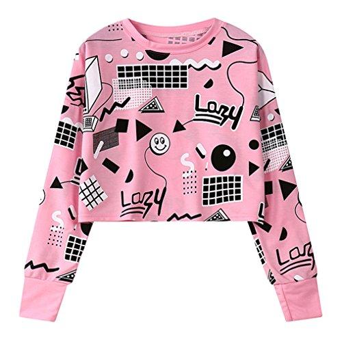 Fashiononly Women Sweatshirt Harajuku Pink Crop Top Geometry Print Long Sleeve Hip Hop Pullovers,Pink by Fashiononly