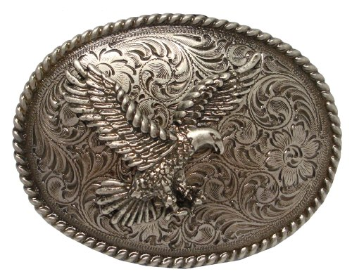 (Antique Silver Nickel Finish American Eagle Western Belt)