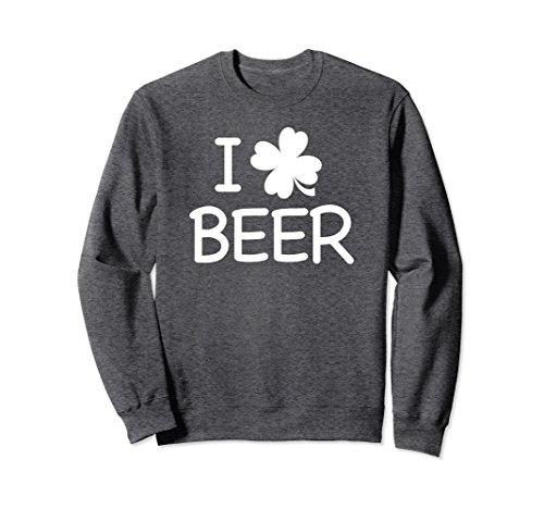 Unisex I Love Beer Clover Sweatshirt For St Patricks & Pattys Day XL: Dark (Clover Beer)