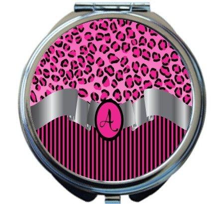 Rikki Knight Letter''A'' Hot Pink Leopard Print Stripes Monogram Design Round Compact Mirror by Rikki Knight