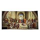 Society6 Beach Towel, School of Athens Painting by prodesigner2, Polyester-Microfiber Front, White Cotton Terry Back