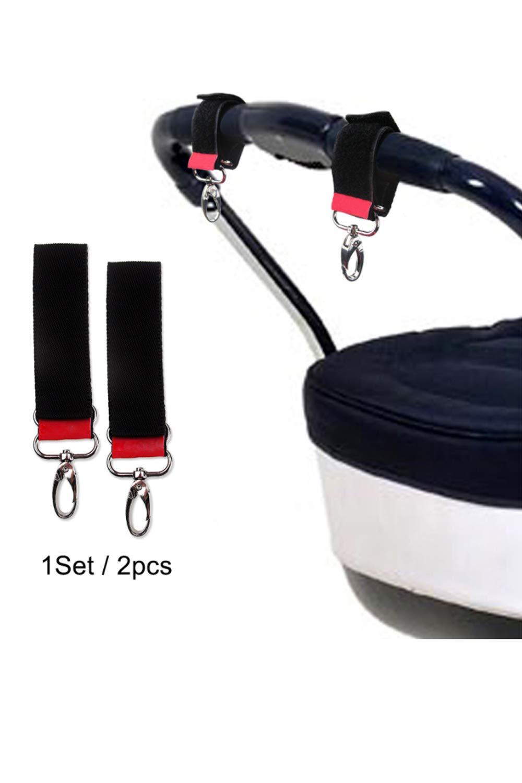 SMTD Universale Passform Kinderwagen Haken Klettverschluss Haken Kinderwagenhaken Einkaufstasche Wickeltasche Praktische Anti-Rutsch Stroller Hooks 2 St/ück