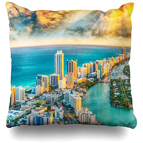 Throw Pillow Cover Square 18x18 Inch Lifestyle Blue America Helicopter View South Beach Miami City Parks Aerial American Bay Urban Home Decor Cushion Pillow Case -