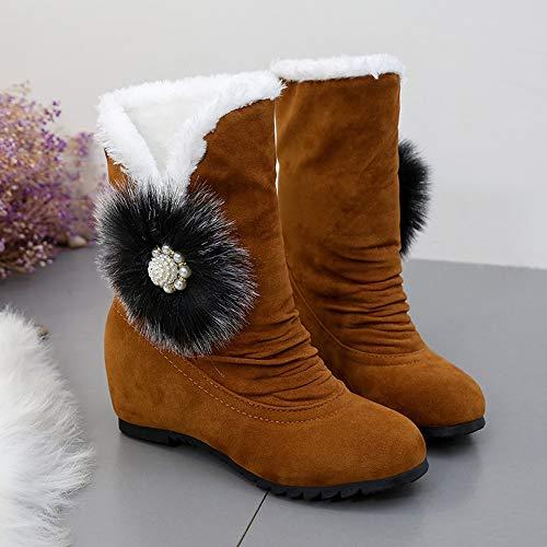 Calzado Terciopelo Moda Felpa Botina Nieve Para Ante Zapatos De Cuñas Aumento Mujer Marrón 5cm Interno Luckygirls Botas HP0qBB