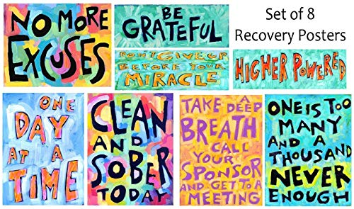Addiction Recovery Inspirational Wall Art Posters 12 Steps Sober Positive Affirmation Gift (Set of 8) (Wall Inspirational Sets Art)